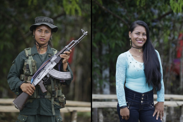 Carolina, a rebel of 49th front  of the Revolutionary Armed Forces of Colombia, FARC, poses at a camp in the southern jungles of Putumayo, Colombia, Monday, Aug. 15, 2016. Carolina said she is 18 and has spent three years in the FARC, and would like to study engineering after the peace deal with the government. (AP Photo/Fernando Vergara)